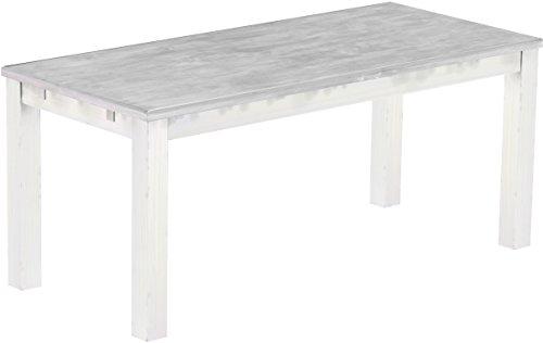 Brasilmoebel Esstisch Rio Classico 180 x 80 cm - Pinie Massivholz Farbton Beton - Weiß - in 27 Größen und 50 Farben - über 1000 Varianten -...