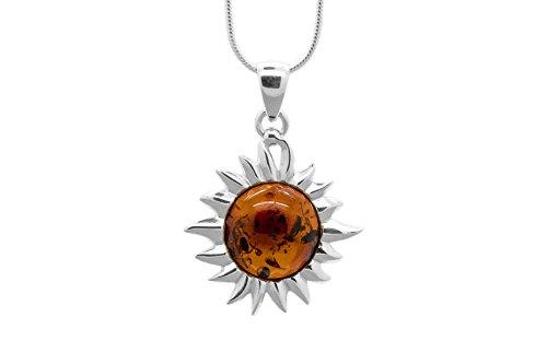 Collana con ciondolo sole fiammeggiante, argento sterling 925con vera ambra baltica naturale. Catena incluso
