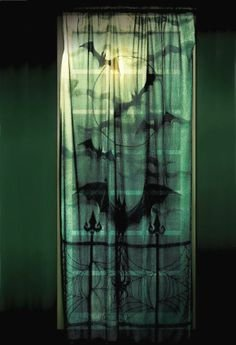Fledermaus Vorhang Vampir Style Blutsauger Gardine Window Bats Balkon Tür Fenster Wanddeko Stoff mit Fledermaus