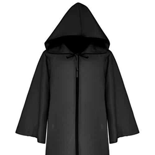 Kostüm Womens Ritter Alle - GOKOMO Mittelarm Mantel Mantel Männer und Frauen mittelalterlichen Ritter gotischen Retro einfarbig Erwachsenen schwarz L
