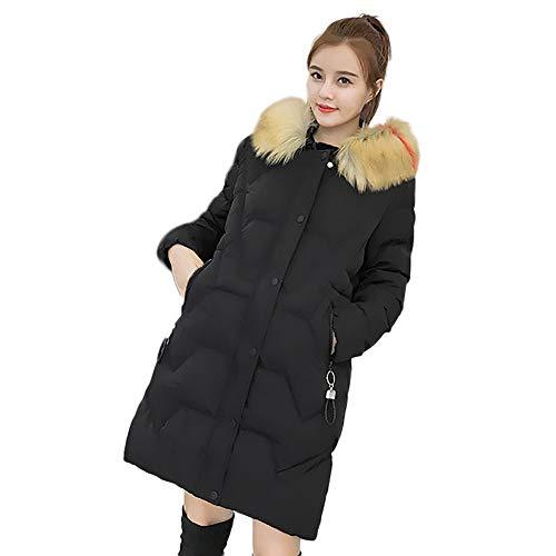 sunnymi Frauen Mantel Winter Warme Slim Fit mit Kapuze Outwear Dicke Pelzkragen Jacke