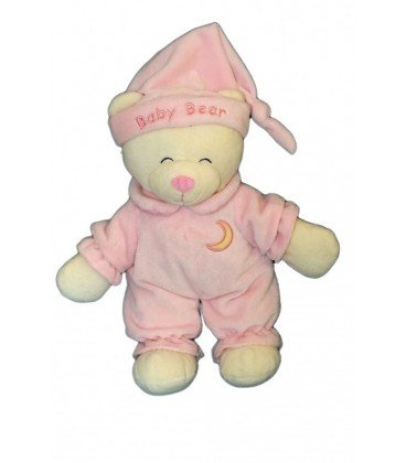 Doudou peluche OURS rose GIPSY Baby Bear Lune brodée 30 cm