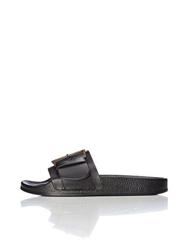 FIND Damen Sandalen mit Breiter Schnalle Schwarz (Black)