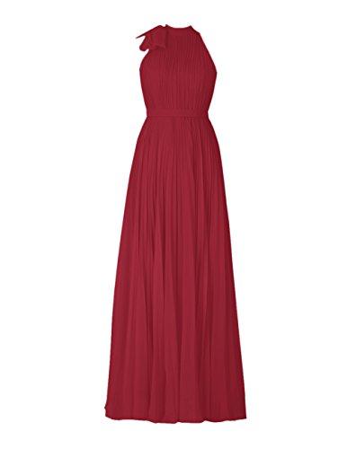 Dresstells Robe de demoiselle d'honneur Robe de cérémonie forme empire en mousseline longueur ras du sol Rouge Foncé