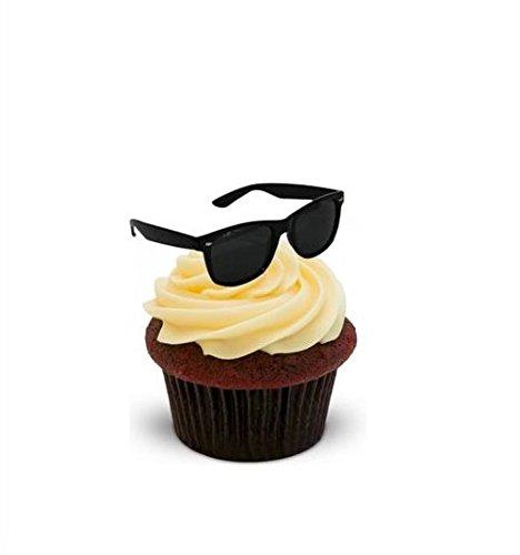 Schwarze Sonnenbrille - 12 essbare hochwertige stehende Kuchen Toppers - Black Sunglasses (Party Sonnenbrille Supplies)