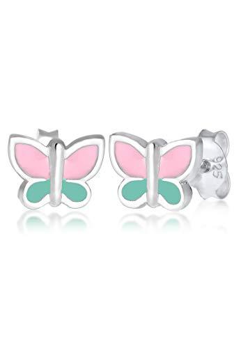 Elli Kinder-Ohrstecker Schmetterling 925 Silber Emaille - 0304810617