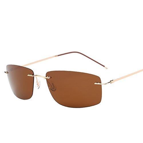 MinegRong mit Fall polarisiert Titan Silhouette Sonnenbrille Square Polaroid Gafas Männer runde Sonnenbrille Sonnenbrille für Männer, ZP4336 mit Case C4