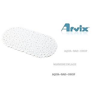 Schöne Badewannenmatte- BADEWANNENEINLAGE- Antirutschmatte STONE OPTIK-Kieseloptik-Steinoptik-Form:OVAL Farbe.weiß-ARVIX-NEU -Maße:ca.:67x35cm-LGA Schadstoffrei-NEU 2015