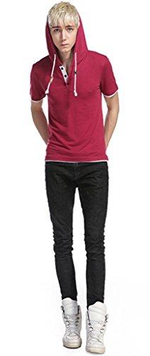 Whatlees Herren Urban Basic reguläre Passform lang arm Langes T-shirt mit Kapuzer aus weiches Jersey B495-Red