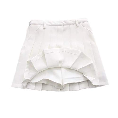 Junior Girls-pleated Shorts (CuteRose Women Preppy Chic Solid Colored Culottes Accordion Pleated Short Skirt White XS)