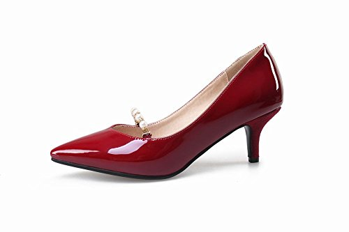 Mee Shoes Damen elegant high heels spitz Pumps Weinrot