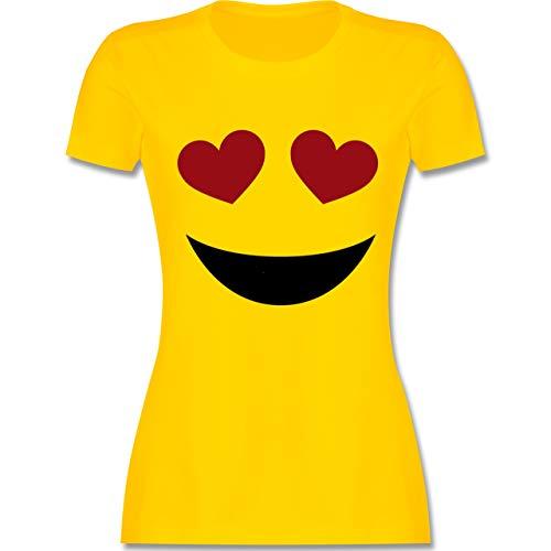 Karneval & Fasching - Herz Augen Emoji Karneval - XL - Gelb - L191 - Damen T-Shirt ()
