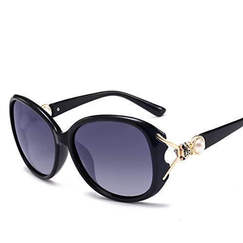 sijiaqi Fox Pearl Oval Sonnenbrillen Frauen Sonnenbrillen Damen Damen Polarisierte Gläser Weibliche Oculos,Black