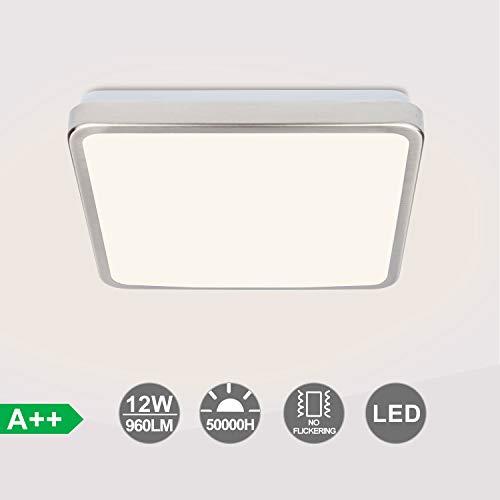 VINGO LED Deckenlampe, 12W Deckenleuchte, Warmweiß Badlampe für Schlafzimmer, Badezimmer, Kinderzimmer, Balkon, Flur, IP44, 960LM, 277 * 277 * 86mm