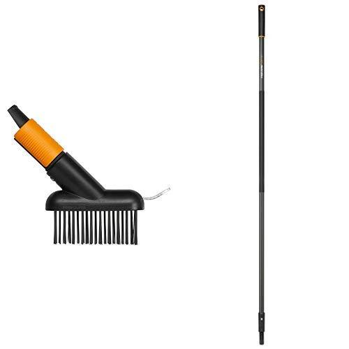 Fiskars Fugenbürste mit zusätzlicher Kratz-Klinge & Stiel Graphit für QuikFit Werkzeugköpfe, Länge 156 cm, Aluminium, Schwarz/Orange, QuikFit, 1000661