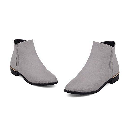 VogueZone009 Damen Reißverschluss Nubukleder Rein Niedrig-Spitze Stiefel Grau