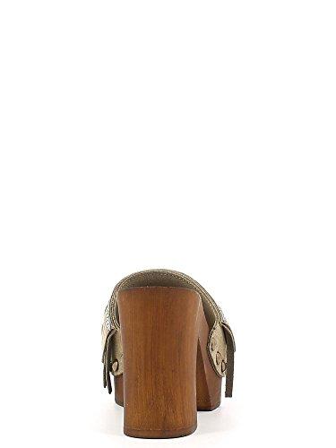 Zoccolo CafèNoir in camoscio taupe con frangette Taupe