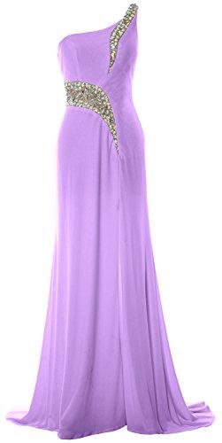 MACloth Women Mermaid Prom Dress One Shoulder Slit Jersey Formal Evening Gown Lavendel