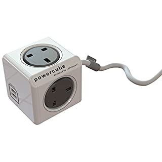 Allocacoc PowerCube Extended USB 3 Metre UK Power Socket with 2 Built-In USB Ports