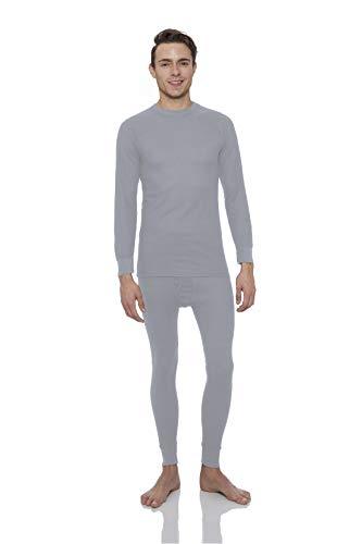 Knit Long Johns (Rocky® Men's Thermal Long John Underwear 2Pc Set Waffle Knit Top and Bottom (2Xlarge, Gray))