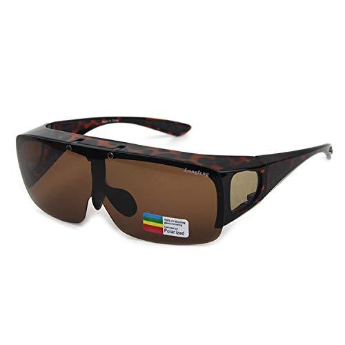 Glücklich zusammen Wickeln Sie polarisierte treibende Gläser über Sonnenbrillen (Color : B)