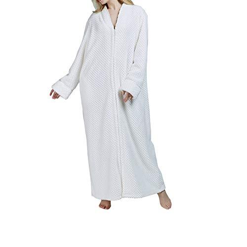 Mmllse Langflossen Nachthemd Robe Winter Verdickung Große Größe Schwangere Frauen Schlafanzug Frauen Lose 6 Farben XL Weiß