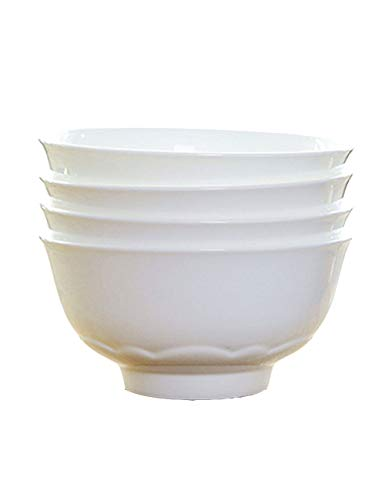 Nudelsuppe Schüssel Bone China Schüssel Hohe Schüssel Obstsalat Schüssel Essen Schüssel Haushalt Keramikschale Chinesische Weiße Porzellan Schüssel Reisschüssel Kleine Suppenschüssel (Vier Packungen)