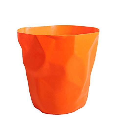 DUOER home Kunststoff Dicker ohne Deckel Unregelmäßige Haushalts Mülleimer, Wohnzimmer Schlafzimmer Küche WC Büro Papierkorb 15L (Color : Orange, Größe : Large)