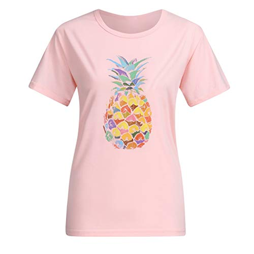 hirt Damenmode Multicolor Ananas Druck Kurzarm T-Shirt Casual Sommer Bluse Tops ()