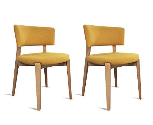 Meubletmoi Chaises Tissus Jaune Pieds Bois Massif - Style Classique Contemporain - Confort & Design - Lot de 2 - Pretty