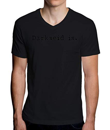 ShutUp Co. Darkseid Is Camiseta con Cuello de Pico para Hombre X-Large