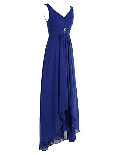 Bbonlinedress Robe de demoiselle d'honneur Robe de cérémonie col en V ourlet asymétrique longueur ras du sol Rouge Foncé