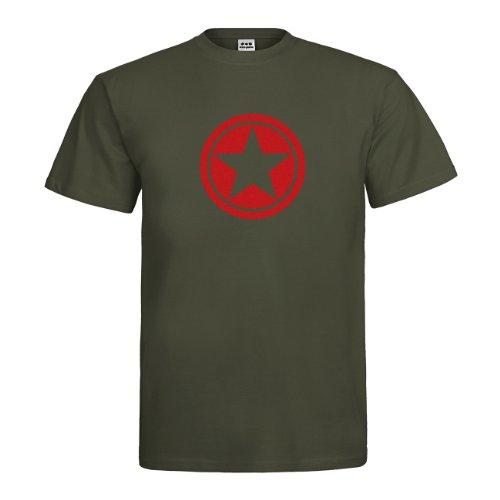 dress-puntos Herren T-Shirt Star Circle Stern Kreis drpt-t00023 Textil khaki / Motiv rot Gr. XXL (Stern T-shirt Grün Roter)