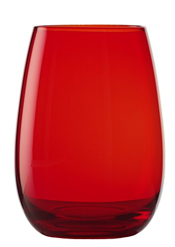 Stölzle Lausitz Elements Becher in rot, 465 ml, 6er Set Gläser, spülmaschinenfest, bunte Trinkbecher, hochwertige Qualität
