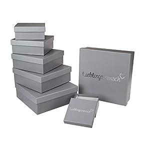 Out of the Blue 101686 – Geschenkboxen Lieblingsmensch, 8 Stück im Set, grau, in verschiedenen Größen ca. 22,5 x 22,5 x…