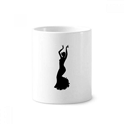 DIYthinker Performance-Tänzer Volkstanz Kunst-Keramik-Zahnbürste Stifthalter Tasse Weiß Cup 350ml Geschenk 9.6cm x 8.2cm hoch Durchmesser