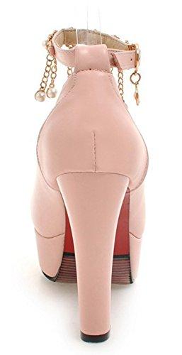 Kunstleder Troddel Pumps Aisun Pink Mit Perlen Plateau Kette Damen Trichterabsatz Schnalle Knöchelriemchen FXqHT