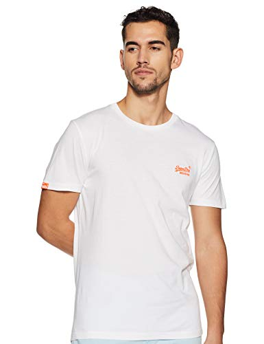 Superdry Herren ORANGE Label NEON Tee T-Shirt, Weiß (Optic 01c), Medium (Herstellergröße: M)
