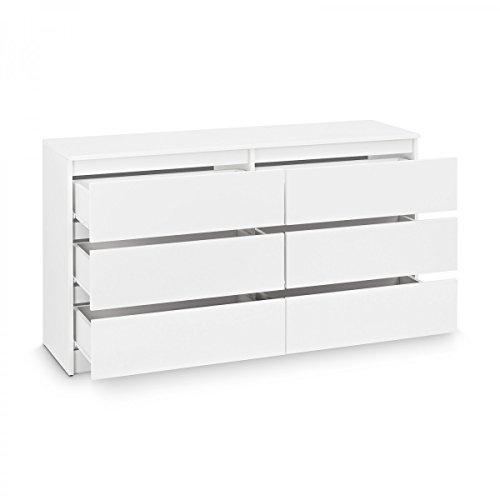Kommode mit 6 Schubladen Sideboard Mehrzweckschrank Anrichte Diele Flur Esszimmer Wohnzimmer Weiß - 2