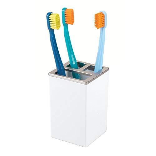 iDesign 41282EU Clarity Zahnbürstenhalter, weiß/brushed, plastik, 6,4 x 6,4 x 10,2 cm (Gebürstetem Nickel Zahnbürstenhalter Aus)