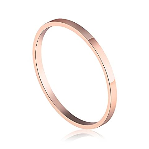 Fate Love 1.5mm 18K Rose Gold Plated Polish Plain Ring Comfort Fit Wedding Band(Size J to Q)