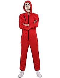 iiniim Adulte Halloween Déguisement CASA Cosplay Body Grenouillères À  Capuche Masque de Papel Dali Offert Homme 56ad89f71b4