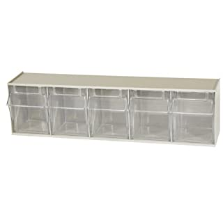 Akro-Mils 06705 TiltView Horizontal Plastic Storage System with Five Tilt Out Bins, 23-5/8-Inch Wide by 6-1/2-Inch High by 5-3/8-Inch Deep, Stone
