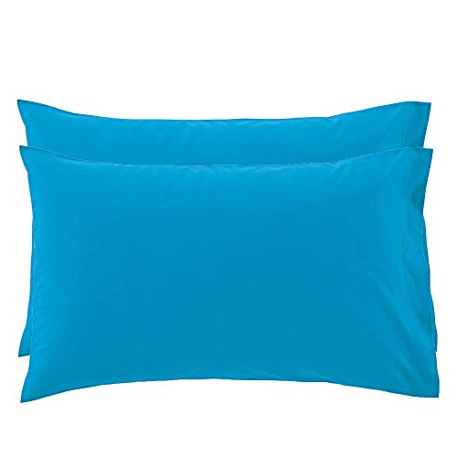 Set 2 federe bassetti time tinta unita federa 100% puro cotone cm 50 x 80 (azzurro - 3378)