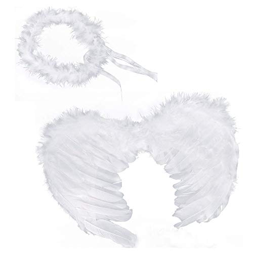 Kind Engel Mit Kostüm Heiligenschein - Ruizsh Weiß Engel Feen Federn Flügel und Heiligenschein für Halloween Karneval Cosplay Party Fasching Kostüme (Weiß)