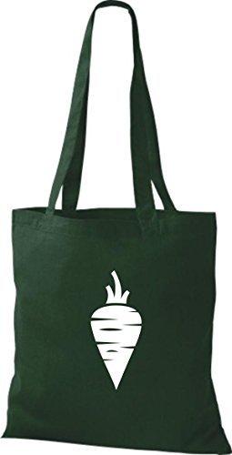 T-shirt Di Cotone Tinta Unita Borsa Di Stoffa Tua Frutta E Verdura Preferita Rapa Carota Di Colore Rosa Verde