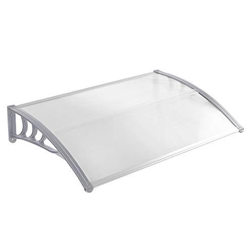 LZQ 120 x 90cm Vordach Vordach Pultbogenvordach Überdachung Polycarbonat Transparentes Weiß Haustürüberdachung Haustürvordach Pultvordach (120 x 90cm, Grau)