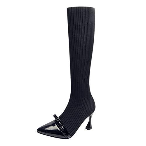 MakefortuneDamen Damen High Kitten Heel Oberschenkel Kniehohe Stiefel Spitz Stretchy Schuhe Größe -