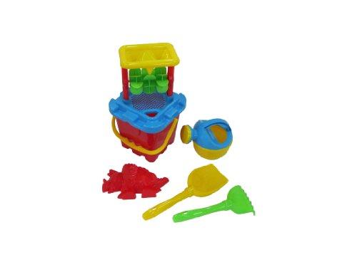 Wader - Set di secchiello ed accessori da spiaggia, con formine, paletta e rastrello