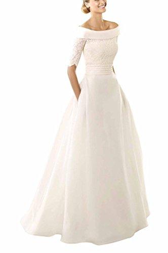 GEORGE BRIDE Oval-Ausschnitt A-Linie Spitze Mantel Brautkleider Hochzeitskleider Elfenbein